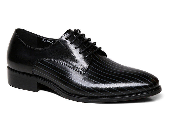 Handmade Mens Black Patent Leather Shoes Square Toe Striped Men Wedding