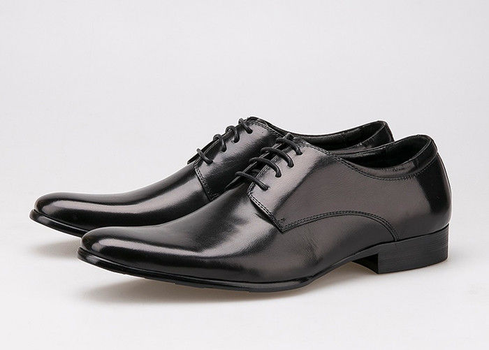 Cow Leather Upper Lace Up Derby Shoes , Flat Heel Soft Mens Black Formal Shoes