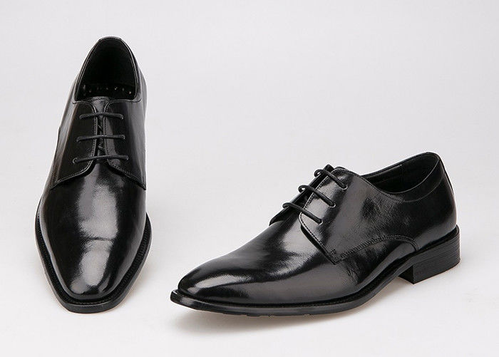 Flats Men Formal Dress Shoes Black Genuine Leather Lace Up Shoes For