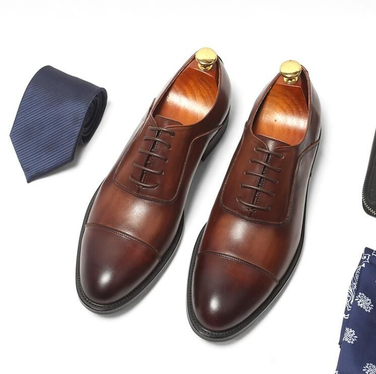 Genuine Leather Lining Formal Business Shoes Comfortable Mens Dress