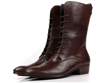 Chunky Heel Mens Lace Up Ankle Boots , Waterproof Military Retro Combat Ankle Boots