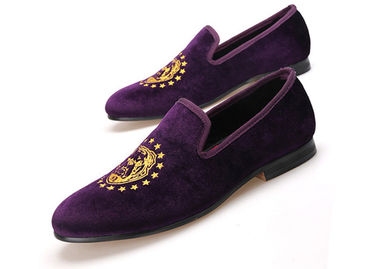 Embroidery Cross Pattern Purple Mens Velvet Loafers With Handmade Red Bottom Casual