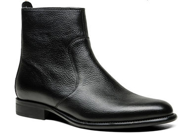 Classic Fashion Mens Leather Dress Boots Normal Size Black High Top Boots  For Office
