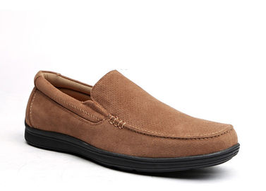 Breathable Mens Leather Loafers Brown Round Toe Mens Suede Moccasins For Summer