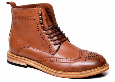 Oxford Mens Leather Chukka Boots Fashion Retro Square Heel Mens Brown Brogue Boots