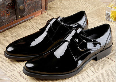 Wedding Mens Black Patent Leather Shoes , Flat Italian Double Buckle Monk Shoes