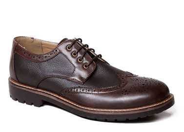 Bullock Business Men Brogue Shoes Genuine Leather Brown Lace Up Dress Shoes
