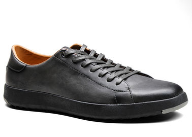 Grey Mens Lace Up Leather Sneakers 36 ~ 48 Handcrafted Leather Shoes For Youth Walking