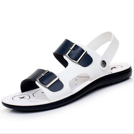 Full Grain Leather Mens Handmade Sandals , Comfortable / Breathable White Beach Sandals