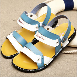 Blue Mens Flip Flop Slippers , Front & Rear Strap Slip On Men Outdoor Sandals