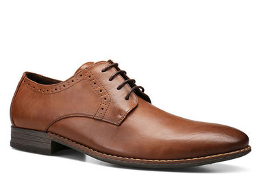 Brown Mens Leather Dress Shoes , Fashion Oxford Party Wear Shoes For Mens