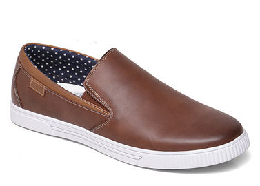 Slip On Comfortable Boat Pu Mens Brown Leather Shoes Spring / Summer / Autumn Season