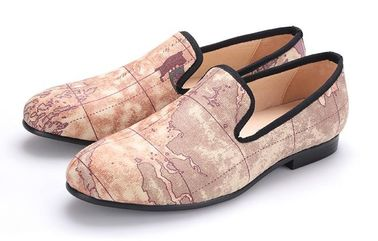 Brown Map Printed Evening Mens Casual Loafers , Customised Mens Woven Loafers