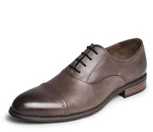 China Round Toe Fashion Men Dress Shoes , Lace Up OEM Dark Brown Oxford Shoes factory