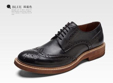 China Handmade Burnished Mens Formal Leather Shoes , Bespoke Mens Brown Lace Up Dress Shoes factory