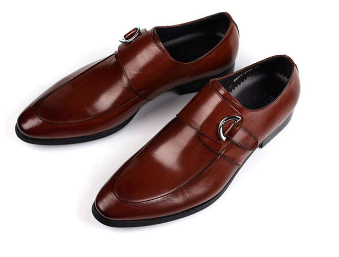 Burnished Leather Mens Monk Strap Shoes Black / Brown For Wedding