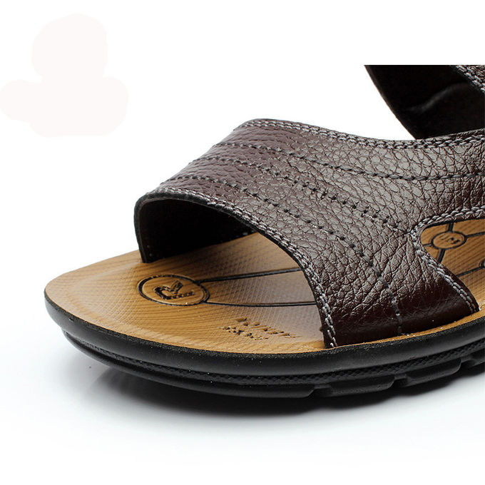 569a23cc5a6f 2 In 1 Mens Handmade Leather Sandals Chocolate Brown Sandals For Summer