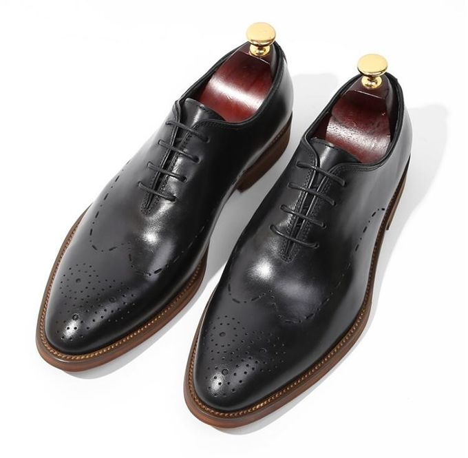 Handmade Patent Wedding Mens Leather Dress Shoes Oxfords Style With Black Striped